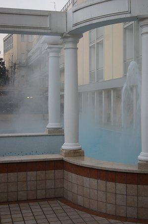 Hotel Aurora Terme: PISCINA ESTERNA NELLA NEBBIA.
