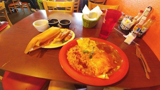 El Charro: My Carnitas Burrito and tamale.
