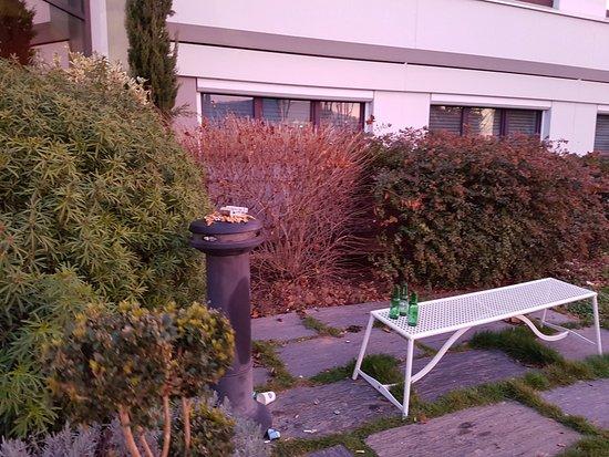 Collegien, Francia: jardin avec les mégots et les bouteilles de bière qui trainent