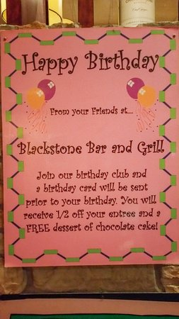 Yorkville, Ιλινόις: Blackstone Grill Birthday Club
