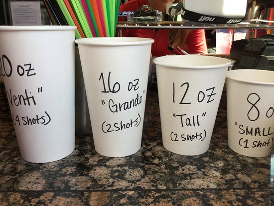 The Grind Coffee Co: Coffee size options available.