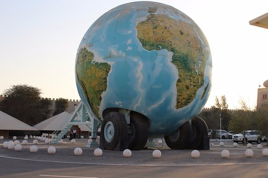 World Globe shaped 3 storey caravan exactly 1 millionth size of