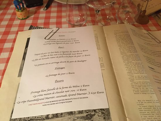 Restaurant Chez Tante Fauvette : The menu on the day we visited