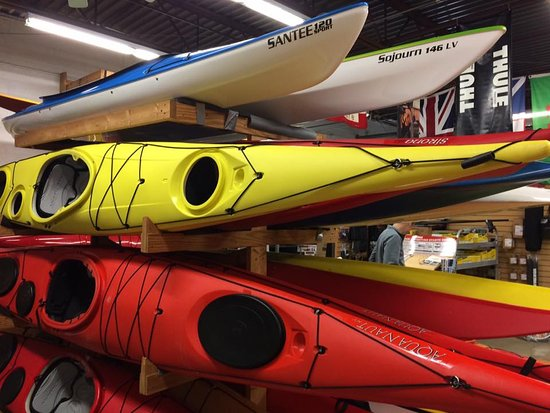 Wyandotte, MI: Kayaks in the shop.