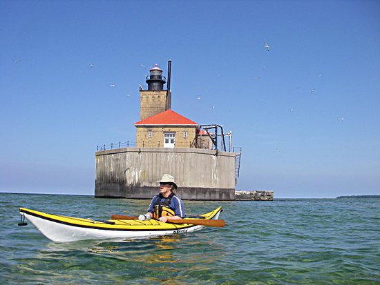 Wyandotte, MI: Port Austin Lighthouse Tour at the Port Austin Kayak Symposium.