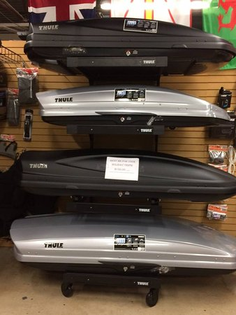 Wyandotte, MI: Thule roof top boxes for sale or rent at Riverside Kayak Conneciton.