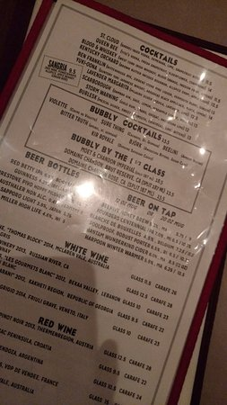 The Beehive: Drinks menu