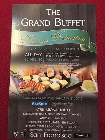 Current Dinner Buffet Flyer (As Of Dec 2016) - Picture Of Blue