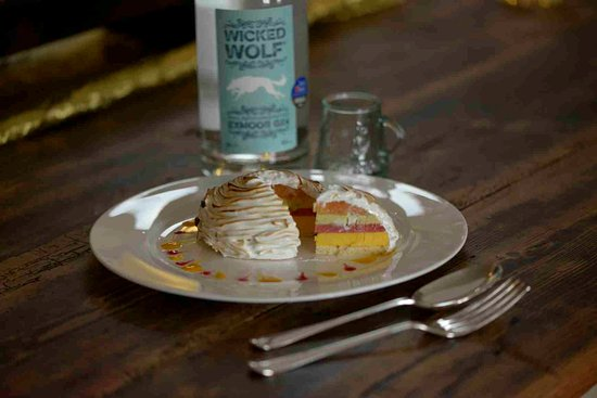 South Molton, UK: Baked Tropical Alaska flamed with Wicked Wolf Exmoor Gin