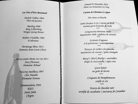 Le menu - Picture of Le Cinq, Paris - TripAdvisor