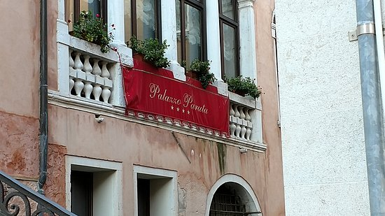 Palazzo Paruta: The front of the hotel. The banner is offset from the actual entrace.