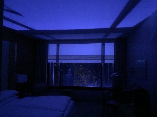 Sheraton Berlin Grand Hotel Esplanade : Our Room With The Blue Light Outside By The Canal-Sexy!