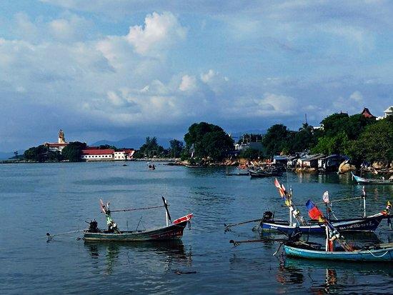 Bophut, Thailand: Big Buddha, viewed from the Seatran Ferry pier.