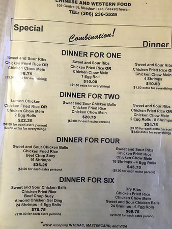 Meadow Lake, Canada: Two pages of the menu