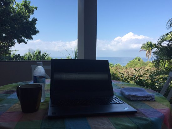 """Hacienda de la Costa: My """"office"""" as I catch up on emails in the morning."""