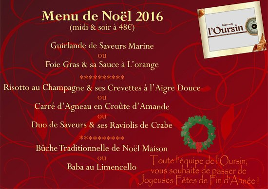 Image Ou Photo De Noel.Menu Du Repas De Noel Picture Of L Oursin Antibes