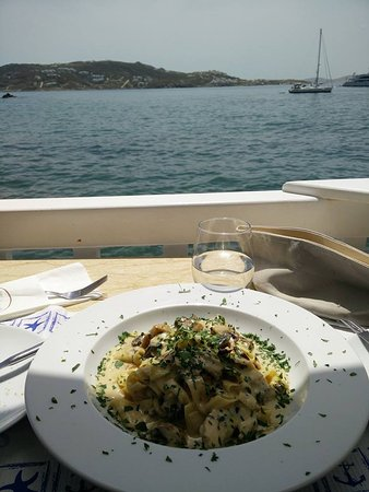 Katerina's Restaurant & Cocktail Bar: Pappardelle Pasta and the Blue water!