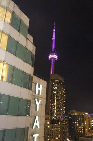 Hyatt Regency Toronto: Nighttime view from pool