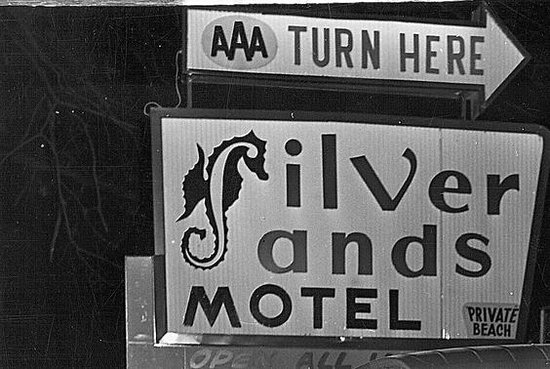Greenport, NY: Original sign on Silvermere Road in 1957