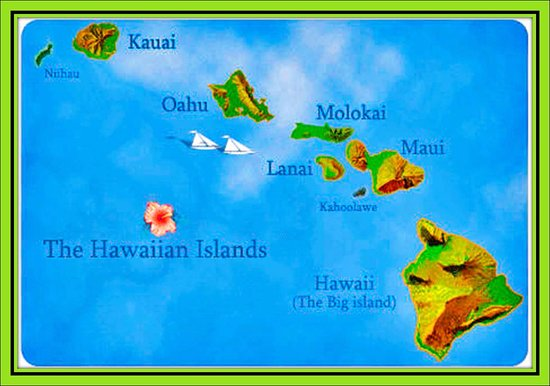 map of Hawaii islands Picture of Aloha Hawaiian Barbecue Dallas