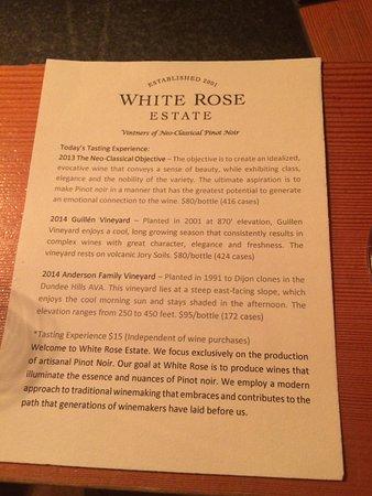 Dayton, OR: Wine flight descriptions