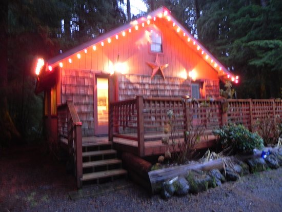 Manitou Lodge Bed and Breakfast: The Owl Cabin at night