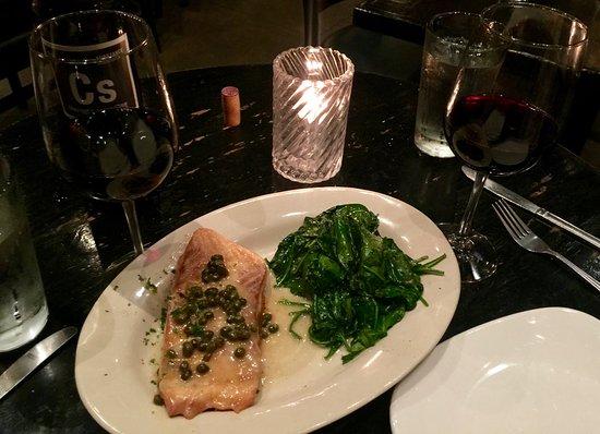 Coal Vine's: Salmon with sautéed spinach
