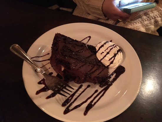 Mr. Dominic's on Main - fudge cake dessert!