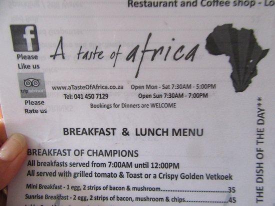 Colchester, Sudáfrica: A variety of menu choices
