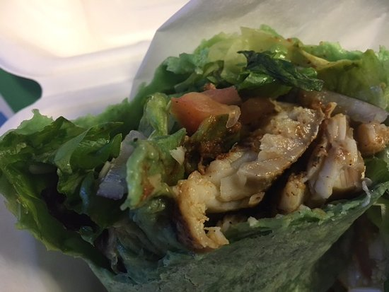 Lahainas: Cajun Fish Wrap in a spinach tortilla