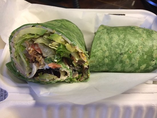 Lahainas: California Turkey Wrap in a spinach tortilla