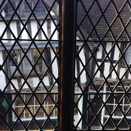Worcester, UK: View from inside Grey Friars, looking across the street. Those angles are not photoshopped.