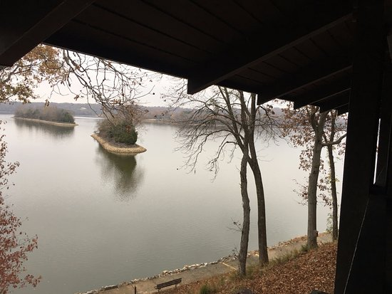 Cadiz, KY: View of lake from balcony with room