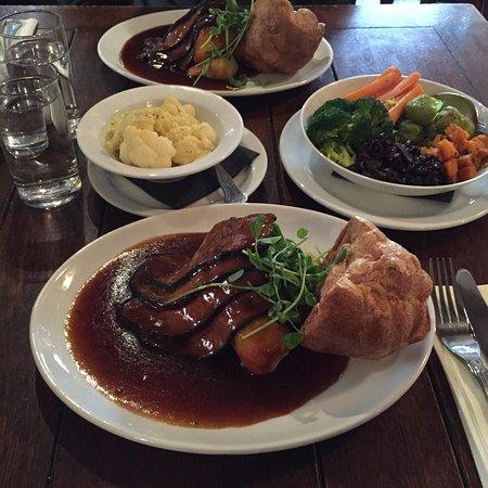 Brookland, UK : Beef Roast, Sticky toffee pudding & custard.
