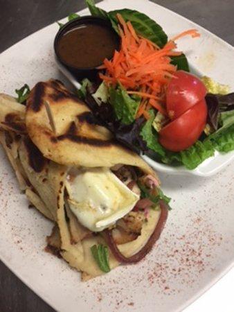 St. Catharines, Canada: Turkey, Bacon, Brie, Mango Chutney, Cranberry Mayo in Nann Wrap