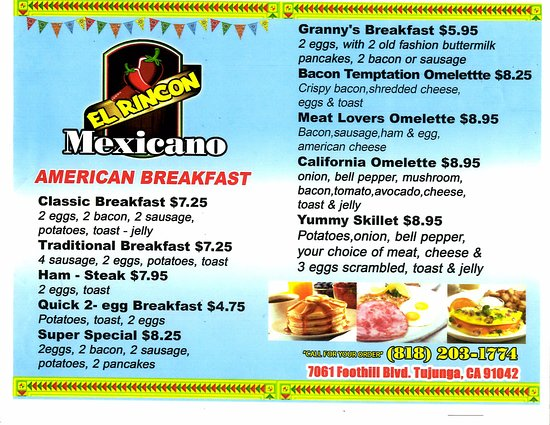el rincon mexicano and he is sure to show you the american menu
