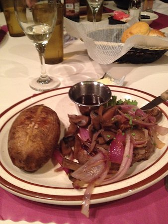 Helgesen's Harpo: 6 oz. filet with onions and mushrooms and baked potato-YUM!