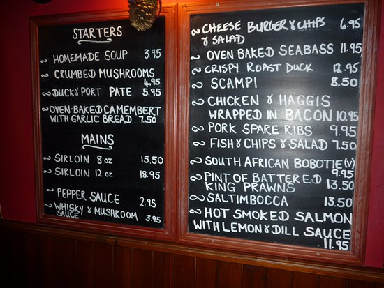Kirkton of Glenisla, UK: Menu from a few years ago ...