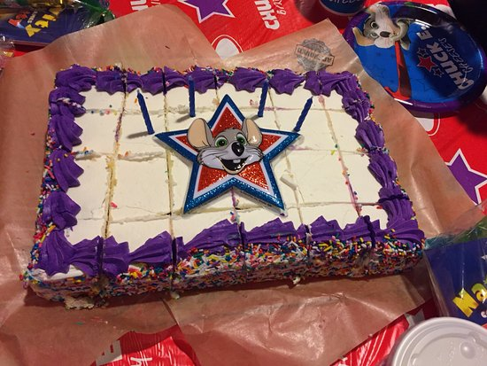 Chuck E Cheese Small Sheet Cake with Candles Picture of Chuck E