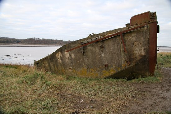 Berkeley, UK: A concre barge well beached