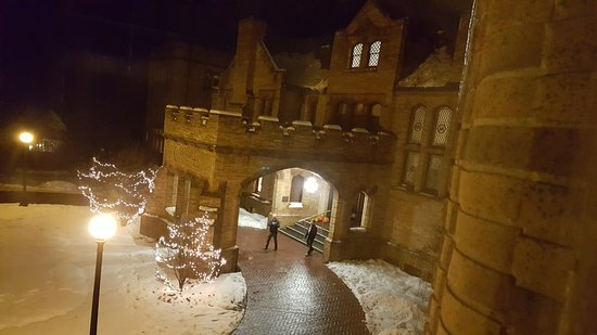 Lenox, MA: Cranwell Spa Resort-Mansion Entrance-Thanksgiving Snowy Evening 2016