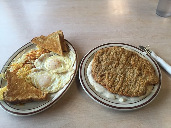 Anaconda, MT: Chicken fried steak and eggs for only $10.95