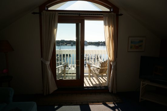 The Anchorage Inn : View from room, out thru the balcony to the lovely harbour beyond.