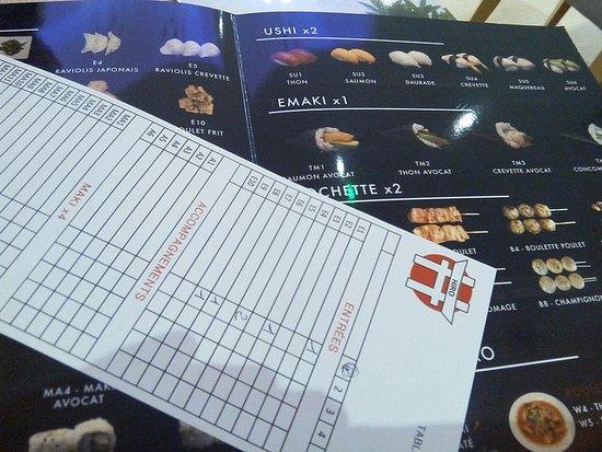 Nanteuil-les-Meaux, France: Menu, grille à remplir