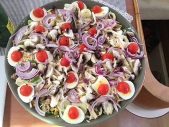 St Martin Catamarans Charters: large mix salad