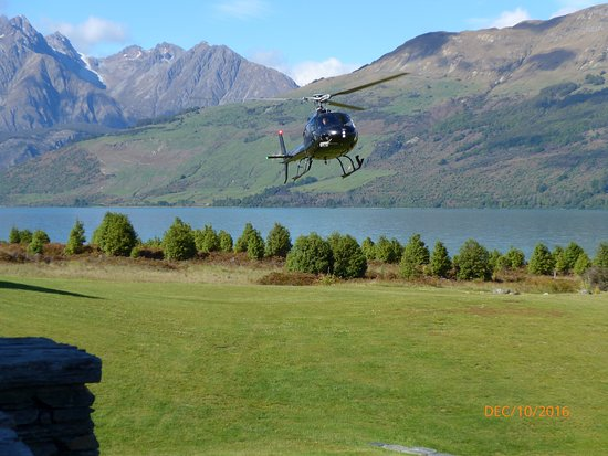 Queenstown, New Zealand: our helicopter picked us up on the lawn of our hotel