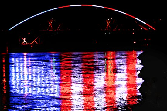 Atchison, KS: Bridge lights reflecting in the Missouri River