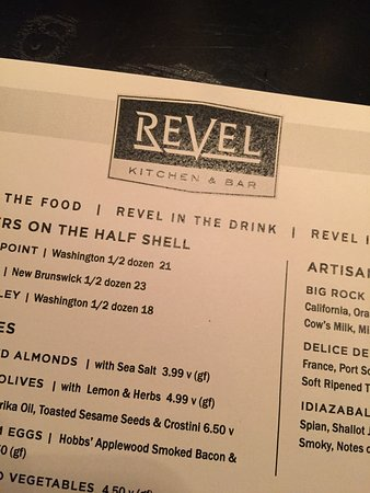 Revel Kitchen and Bar: menu