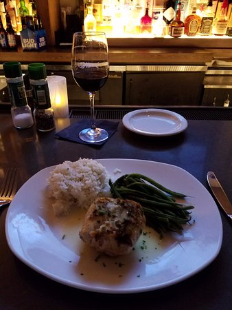 Pine Brook, NJ: Swordfish with jasmine rice and string beans.