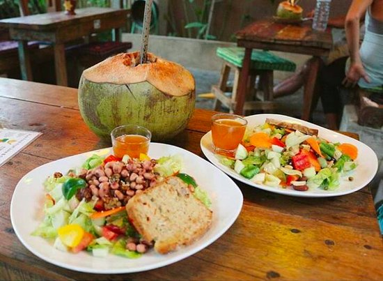 the yoga place garden cafe fresh young coconut with salads